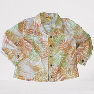 Ruby Rd. Fern Print Jacket Pastel Orange Green